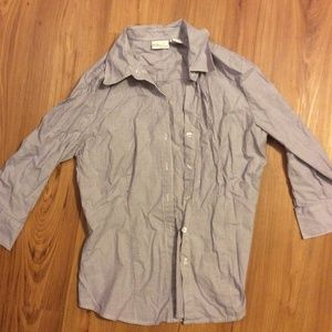 Purple and White Button Down Shirt Small Kim Roger